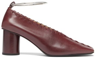 Jil Sander Whipstitched Square-toe Leather Pumps - Womens - Burgundy
