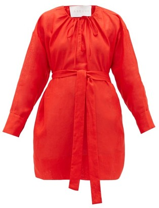 ASCENO Santorini Belted Linen Shirt Dress - Red