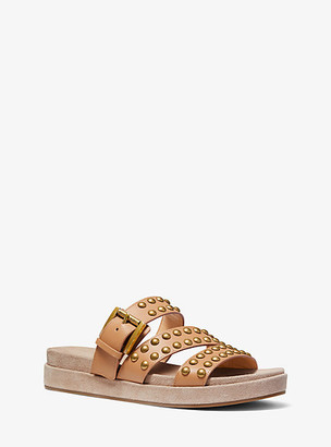 Michael Kors Ansel Studded Leather Slide Sandal