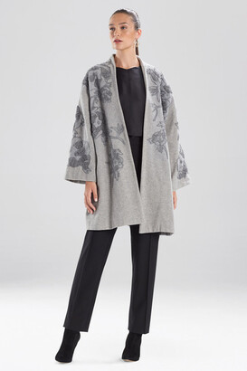 Natori Felted Wool Embroidered Caban Jacket