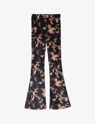 Topshop Tie-dye flared high-rise velvet trousers