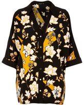 River Island Womens Orange floral print cold shoulder shirt