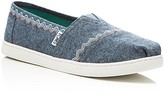 Toms Girls' Seasonal Classic Embroidered Chambray Slip On Sneakers - Toddler, Little Kid, Big Kid