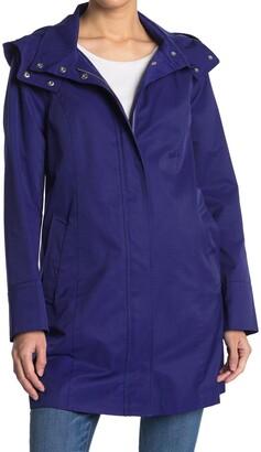 Cole Haan Solid Hooded Rain Jacket