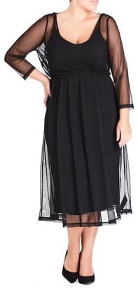 City Chic Mesh Overlay Dress