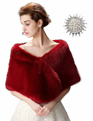 Anglacesmade Bridal Faux Fur Wrap Wedding Fur Stole with Brooch Evening Party Warm Shrug Cape (Dark red)