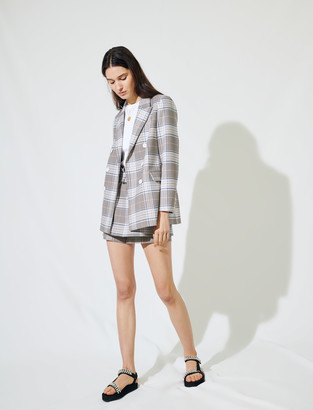 Maje Checked double-breasted blazer