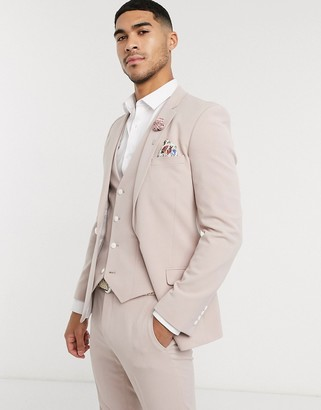ASOS DESIGN wedding super skinny suit jacket in mink in four way stretch