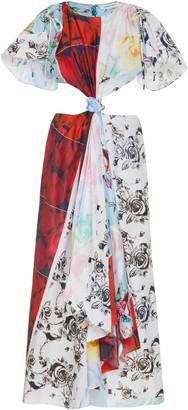 Prabal Gurung Printed Silk Cutout Midi Dress