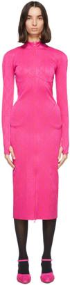 Marine Serre Pink Jacquard Optical Tube Dress