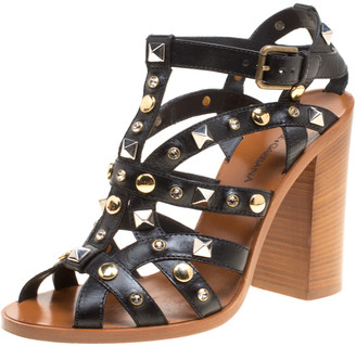 Dolce & Gabbana Black Studded Strappy Leather Block Heel Sandals Size 38
