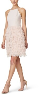 Aidan Mattox Feather-Trim Sheath Dress