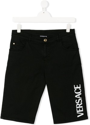 Versace Logo Print Denim Shorts
