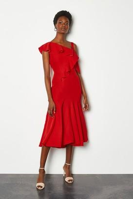Karen Millen One Shoulder Ruffle Dress