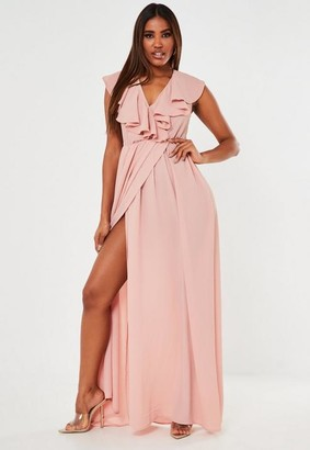 Missguided Blush Ruffle Wrap Sleeveless Maxi Dress