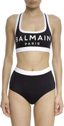 Balmain Logo Printed Jersey High-Waist Bikini Brief