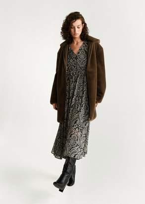 MANGO Hooded faux-fur coat brown - XXS - Women