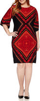 London Times London Style Collection 3/4-Sleeve Printed Sheath Dress - Plus