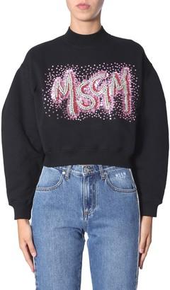 MSGM Sequinned Logo Crewneck Sweater