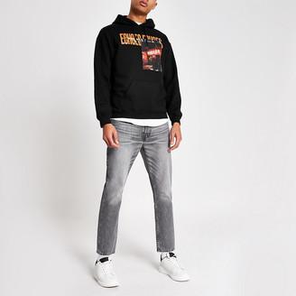 River Island Black 'Echoes' printed regular fit hoodie