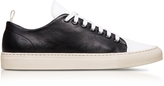 Ylati Sorrento Black and White Leather Low Top Men's Sneakers