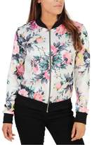 HJUNS Women's Long Sleeve Outwear Zipper Floral Print Casual Bomber Jacket