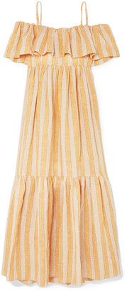 Three Graces London Ida Off-the-shoulder Tiered Metallic Striped Linen-blend Dress