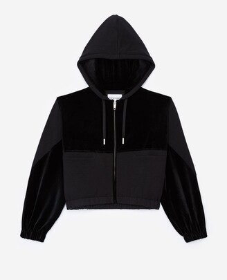The Kooples Zipped dual-fabric black sweatshirt