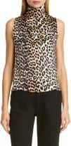 Ganni Leopard Print Stretch Silk Crop Sleeveless Top