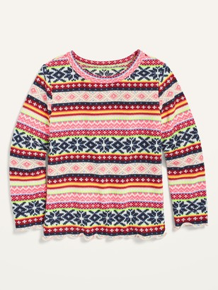 Old Navy Long-Sleeve Plush-Knit Fair Isle Top for Toddler Girls