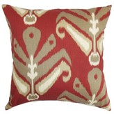 """Sakon Ikat Cotton Throw Pillow Cover The Pillow Collection Size: 18"""" x 18"""", Color: Madder"""