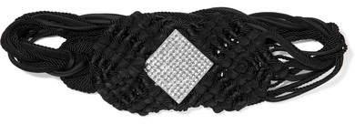 Saint Laurent Crystal-embellished Braided Suede And Cord Belt - Black