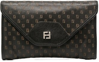 Fendi Pre-Owned 1980s FF embroidered pattern envelope clutch