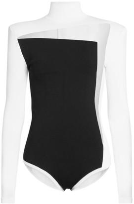 Balmain Tulle-Cutout Bodysuit
