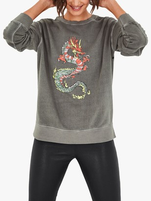 Hush Dragon Graphic Sweatshirt, Washed Grey