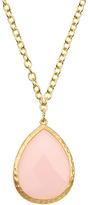Greenbeads Teardrop Pendant Necklace, Pink Quartz