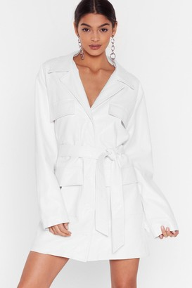 Nasty Gal Womens Get It Together Faux Leather Blazer Dress - White - 14