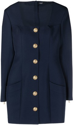 Balmain Short Buttoned Square Neck Dress
