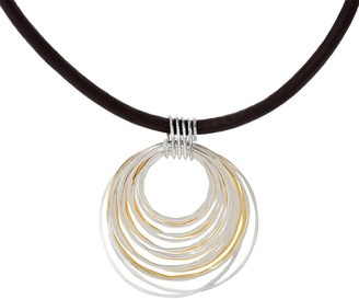 Rlm Jewelry By Robert Lee Morris RLM Bronze Two Tone Multi Rings Pendant on Single Leather Cord