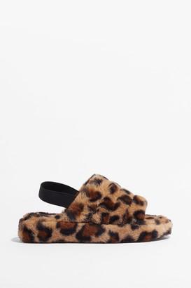 Nasty Gal Womens Go Faux Fur It Leopard Slingback Slippers - Brown