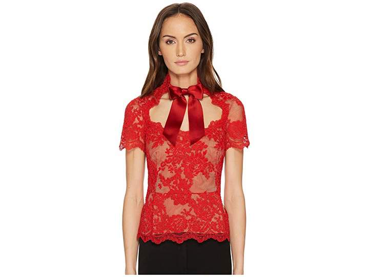 Marchesa Short Sleeve Lace Top w/ Satin Bow Women's Clothing