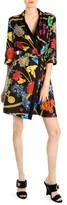 Versace Long-Sleeve Floral Print Belted A-Line Shirtdress
