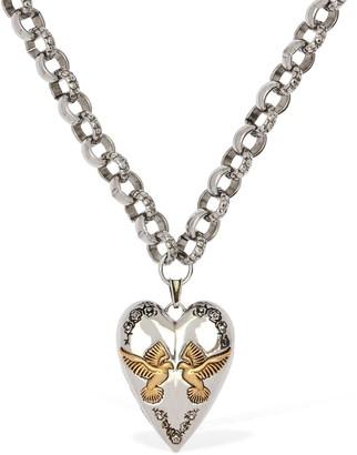 Alexander McQueen Heart Pendant Chunky Chain Long Necklace