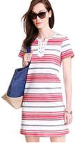 Joe Fresh Women's Lace-up T-shirt Dress, Ecru (Size L)