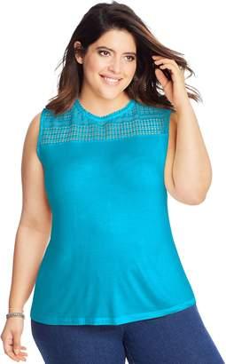Just My Size Women's Plus Crochet Yoke Tank
