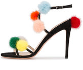 Fendi pompom sandals - women - Leather - 36.5