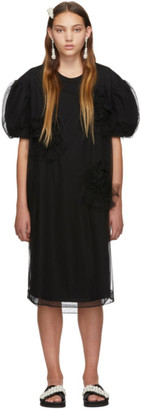 Simone Rocha Black Ruched Flowers Puff Sleeves Tee Dress