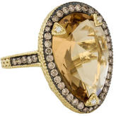 Judith Ripka 18K Diamond & Citrine Ring