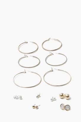 Forever 21 Textured Hoop Stud Earring Set