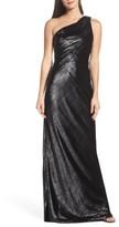 Maria Bianca Nero Women's Stelle Metallic Velvet One-Shoulder Gown
